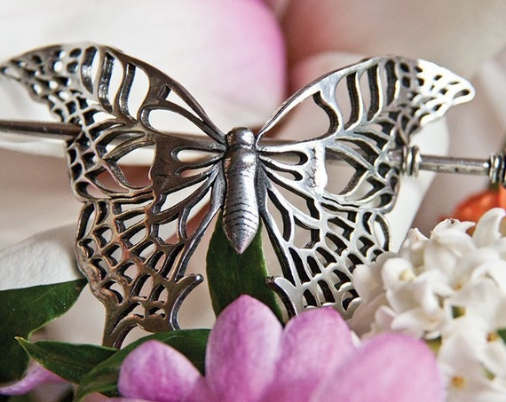 Butterfly Hair Slide, Celtic Hair Barrette, Shawl Pin, Nature Jewelry, Celtic Jewelry, Celtic Barrette, Art Deco Jewelry, Bun Holder