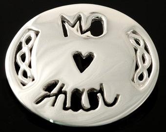 "Gaelic ""My Love"" Celtic Knot Brooch, Scotland Jewelry, Celtic Pin, Bride Pin, Wedding Jewelry, Anniversary Gift, Gaelic Pin, Love Token"