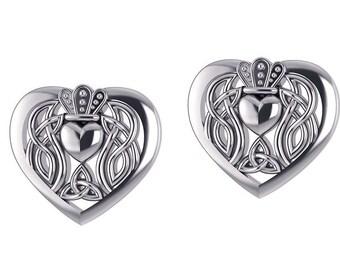 Claddagh Earrings, Celtic Jewelry, Irish Jewelry, Anniversary Gift, Heart Earrings, Girlfriend Gift, Best Friend Gift, Mom Gift