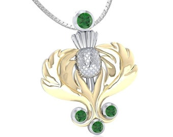 Thistle Dream Necklace, Scotland Jewelry, Celtic Jewelry, Bridal Jewelry, May Birthstone, Anniversary Gift, Wiccan Jewelry, Outlander Gift