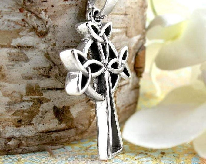 Trinity Knot Celtic Cross, First Communion, Confirmation, Wedding Necklace, Irish Cross, Easter, Birthday, Ireland, Scotland