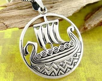 Viking Ship Necklace, Norse Jewelry, Ship Necklace, Viking Ship Jewelry, Scotland Jewelry, Wife Gift, Nautical Jewelry, Pagan Jewelry