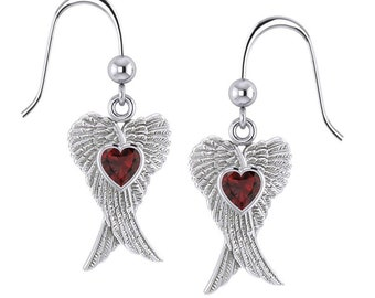Angel Wings Earrings, Celtic Jewelry, Spiritual Jewelry, Anniversary Gift, Wings Jewelry, Bridal Jewelry, Heart Jewelry, Survivor Gift