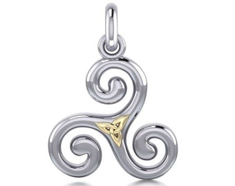 Triple Spiral Necklace, Celtic Jewelry, Irish Jewelry, Mom Gift, Norse Jewelry, Wiccan Jewelry, Pagan Jewelry, Druid Jewelry, Wife Gift