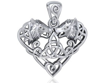 Wolf Necklace, Celtic Jewelry, Norse Jewelry, Pagan Jewelry, Viking Jewelry, Celtic Knot, Heart Pendant, Graduation Gift, Wiccan Jewelry