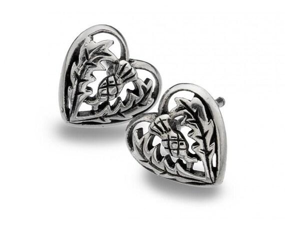 Thistle Earrings, Celtic Earrings, Scotland Jewelry, Outlander Gift, Girlfriend Gift, Sister Gift, Mom Gift, Nature Jewelry, Heart Earrings