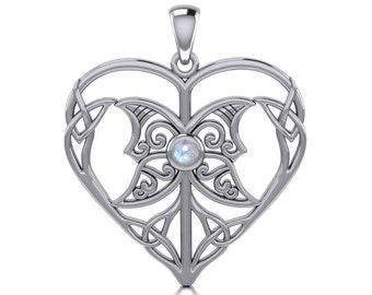 Love Knot Necklace, Celtic Jewelry, Heart Pendant, Triple Goddess Jewelry, Irish Jewelry, Bridal Jewelry, Celtic Knot, Wiccan Jewelry