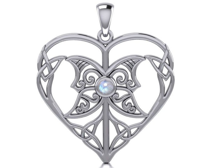 Love Knot Necklace, Celtic Jewelry, Heart Pendant, Triple Goddess Jewelry, Irish Jewelry, Bridal Jewelry, Celtic Knot, Wiccan Jewelry