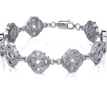 Celtic Quaternary Knot Sterlings Silver Bracelet