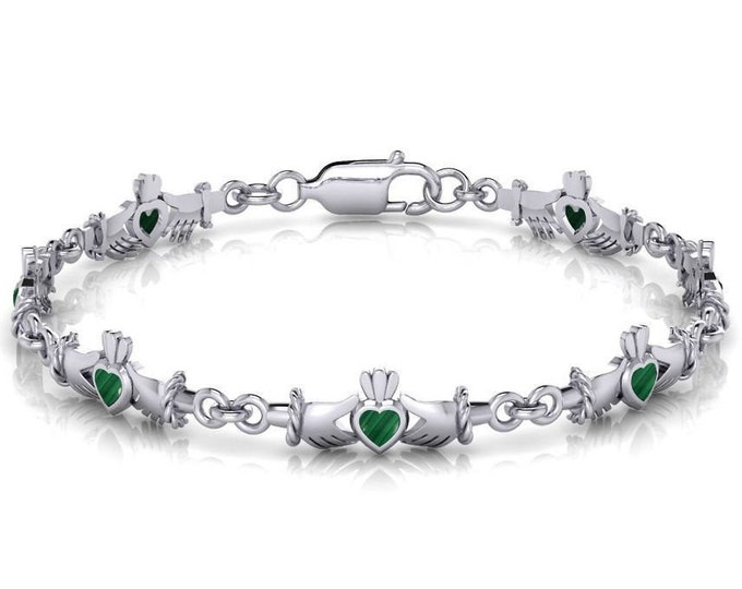 Claddagh Bracelet, Irish Jewelry, Celtic Jewelry, Ireland Jewelry, Anniversary Gift, Girlfriend Gift, Bridal Jewelry, Wife Gift, Heart Gift