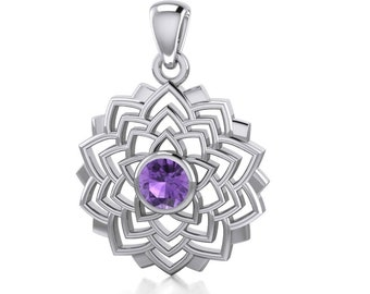 Lotus Necklace, Crown Chakra Jewelry, Amethyst Necklace, Nature Jewelry, Yoga Gift, Graduation Gift, Celtic Jewelry, Girlfriend Gift, Lotus