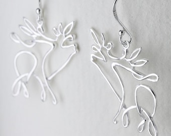 Stag Earrings, Scotland Jewelry, Celtic Jewelry, Anniversary Gift, Deer Earrings, Nature Jewelry, Animal Jewelry, Wiccan Jewelry, Pagan