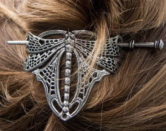 Dragonfly Hair Slide, Celtic Barrette, Hair Jewelry, Wiccan Jewelry, Celtic Jewelry, Shawl Pin, Art Deco Jewelry, Bun Holder