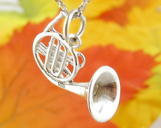 French Horn Necklace, Music Jewelry, Instrument Jewelry, Band Jewelry, Jazz Jewelry, Graduation Gift, Musician Jewelry, Silver Trumpet