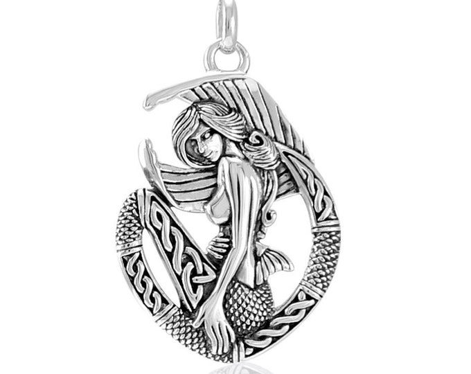 Mermaid Necklace, Celtic Jewelry, Anniversary Gift, Trinity Knot Pendant, Sea Jewelry, Beach Jewelry, Ocean Jewelry, Sister Gift, Wife Gift