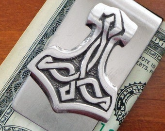 Thor's Hammer Money Clip, Viking Jewelry, Celtic Jewelry, Dad Gift, Anniversary, Gift for Him, Boyfriend, Brother, Norse Jewelry