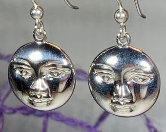 Moon Earrings, Celestial Jewelry, Celtic Jewelry, Moon Face Jewelry, Anniversary Gift, Full Moon Jewelry, Pagan Jewelry, Wife Gift