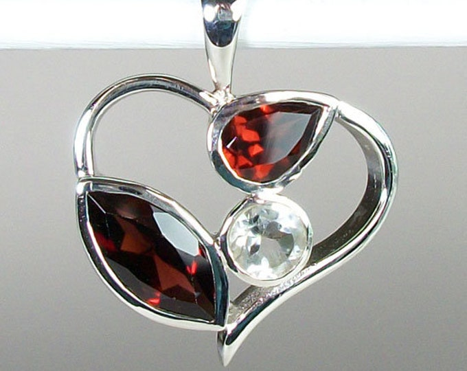 Fire & Ice Heart Necklace, Celtic Jewelry, Heart Jewelry, Garnet Jewelry, Anniversary Gift, Crystal Jewelry, Bridal Jewelry, Survivor Gift