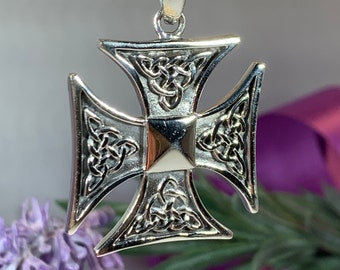 Cross Necklace, Celtic Cross Jewelry, Norse Jewelry, Pagan Jewelry, Viking Jewelry, Celtic Knot Jewelry, Dad Gift, Medieval Cross Pendant