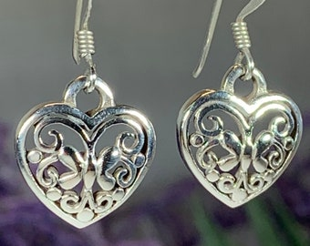 Heart Earrings, Love Knot Jewelry, Celtic Jewelry, Anniversary Gift, Bridal Jewelry, Heart Jewelry, Irish Jewelry, Scotland Jewelry
