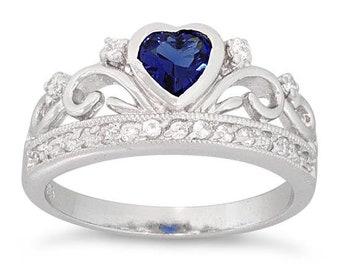 Crown Ring, Celtic Jewelry, Ireland Jewelry, Princess Jewelry, Sapphire Ring, Tiara Ring, Anniversary Gift, Bridal Jewelry, Sweet 16 Gift