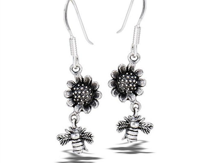 Bee Earrings, Nature Jewelry, Wedding, Graduation Gift, Cancer Survivor, Inspirational, Friendship Gift, Sunflower Jewelry, Summer Jewelry