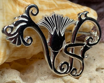 Thistle Brooch, Scotland Jewelry, Outlander Jewelry, Thistle Jewelry, Wiccan Jewelry, Flower Pin, Celtic Brooch, Anniversary Gift