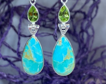 Royal Turquoise Earrings, Celtic Jewelry, Peridot Jewelry, Yoga Jewelry, Anniversary Gift, Sister Gift, Graduation Gift, Mom Gift, Wife Gift
