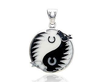 Yin Yang Necklace, Celtic Jewelry, Horse Jewelry, Wiccan Jewelry, Animal Jewelry, Yin Yang Pendant, Pagan Jewelry, Chinese Symbol Jewelry