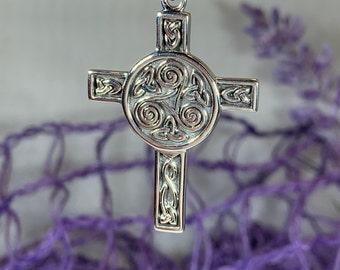 Celtic Cross Necklace, Irish Cross, Triple Spiral Jewelry, Celtic Cross, First Communion Gift, Confirmation Cross, Religious Jewelry