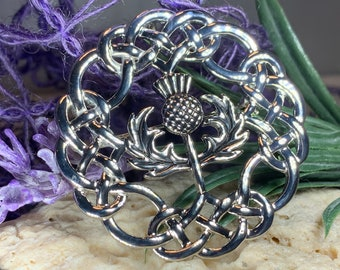 Thistle Brooch, Celtic Jewelry, Scotland Jewelry, Outlander Jewelry, Bagpiper Gift, Thistle Pin, Wiccan Jewelry, Celtic Knot Brooch