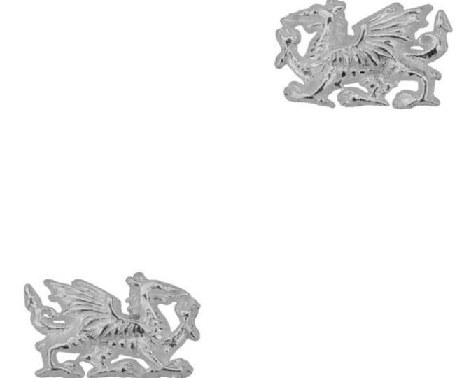 Welsh Dragon Stud Earrings, Dragon Earrings, Wales, Gift for Her, Celtic Dragon, Silver Studs, Sister, Fantasy Earrings