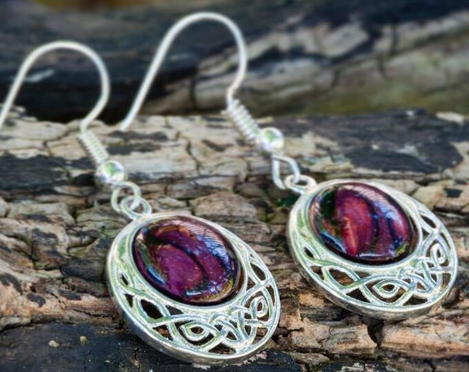 Celtic Knot Earrings, Scotland Jewelry, Outlander Jewelry, Celtic Jewelry, Irish Jewelry, Wiccan Jewelry, Norse Jewelry, Heather Gem