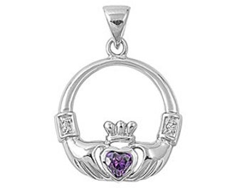 Claddagh Necklace, Celtic Jewelry, Irish Jewelry, Anniversary Gift, Bridal Jewelry, Mystic Topaz Jewelry, Heart Pendant, Amethyst Necklace