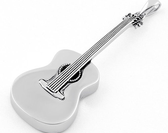 Guitar Necklace, Music Jewelry, Rock and Roll Jewelry, Country Music Jewelry, Guitar Pendant, Musician Jewelry, Silver Guitar Necklace
