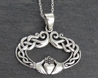Claddagh Necklace, Celtic Jewelry, Irish Jewelry, Celtic Knot Jewelry, Irish Dance Gift, Anniversary Gift, Bridal Jewelry, Heart Jewelry
