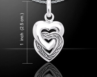 Two Hearts As One Sterling Silver Celtic Necklace