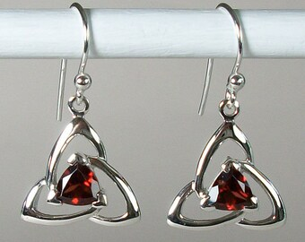 Trinity Knot Earrings, Celtic Jewelry, Irish Jewelry, Celtic Knot Jewelry, Bridal Jewelry, Garnet Jewelry, Scotland Jewelry, Mom Gift
