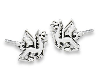 Welsh Dragon Stud Earrings, Dragon Earrings, Wales Gift, Gift for Her, Celtic Dragon, Silver Studs, Sister Gift, Fantasy Earrings, Wife Gift