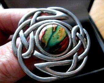 Celtic Knot Brooch, Scotland Jewelry, Scarf Pin, Tartan Pin, Scottish Gift, Graduation Gift, Norse Jewelry, Heather Gem, Wiccan Jewelry