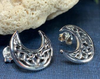 Moon Stud Earrings, Celestial Jewelry, Celtic Jewelry, Anniversary Gift, Irish Jewelry, Stud Earrings, Mom Gift, Sister Gift, Wife Gift