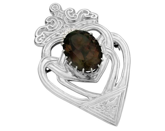 Luckenbooth Brooch, Scotland Jewelry, Celtic Brooch, Scotland Pin, Bride Gift, Anniversary Gift, New Bride Pin, Heart Jewelry, Smokey Topaz
