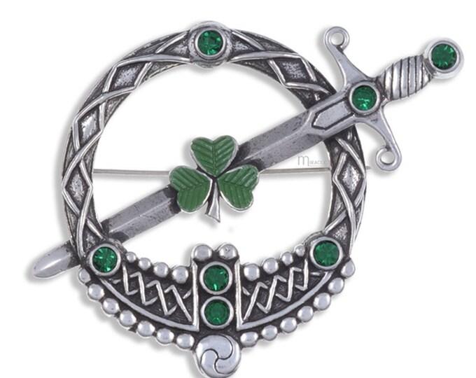 Irish Shamrock Shield Kilt Pin, Celtic Brooch, Celtic Jewelry, Ireland Jewelry, Saint Patrick's Day, Irish Kilt Pin, Fireman, Police, Feis