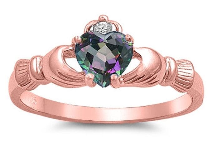 Claddagh Ring, Celtic Jewelry, Ireland Jewelry, Mystic Topaz Jewelry, Irish Gift, Rose Gold Jewelry, Anniversary Gift, Bridal Jewelry