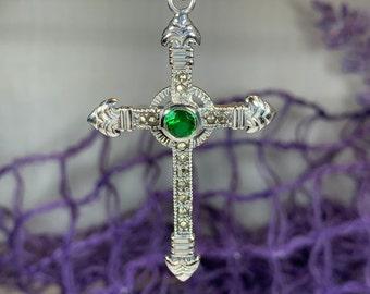 Celtic Cross Necklace, Irish Cross, Irish Jewelry, First Communion Gift, Marcasite Jewelry, Bridal Jewelry, Religious Jewelry, Mom Gift