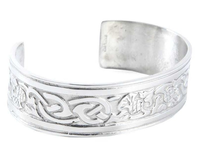 Thistle Pewter Bracelet, Celtic Jewelry, Bangle Bracelet, Nature Jewelry, Scotland Jewelry, Wife Gift, Girlfriend Gift, Sister Gift
