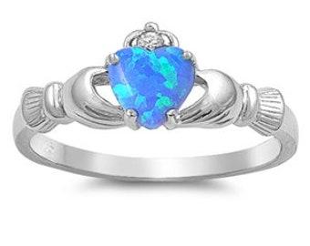 Claddagh Ring, Celtic Jewelry, Irish Jewelry, Opal Jewelry, Irish Ring, Heart Jewelry, Anniversary Gift, Bridal Jewelry