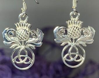 Thistle Earrings, Celtic Jewelry, Scotland Jewelry, Outlander Jewelry, Nature Jewelry, Girlfriend Gift, Wife Gift, Trinity Knot Jewelry