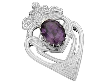 Luckenbooth Brooch, Scotland Jewelry, Celtic Brooch, Scotland Pin, Anniversary Gift, Bride Gift, Heart Jewelry, Amethyst Jewelry