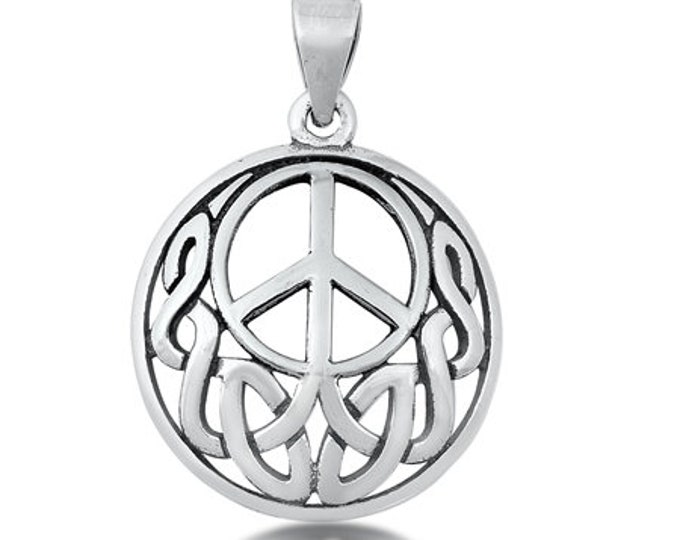 Celtic Knot Peace Sign Necklace, Celtic Jewelry, Irish Jewelry, Sister Gift, Girlfriend Gift, Graduation Gift, Wife Gift, Yoga Gift